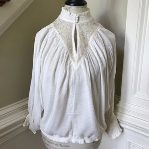 NWT Anthropologie Feather Bone Blouse Shirt Top M